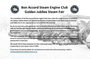 Golden Jubilee Steam Fair Postponed